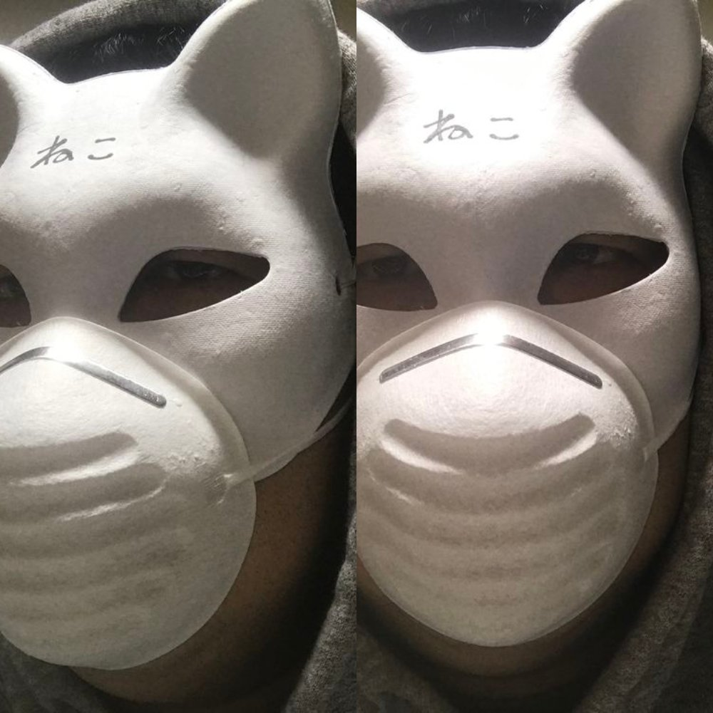 DIY作業マスク装着画像